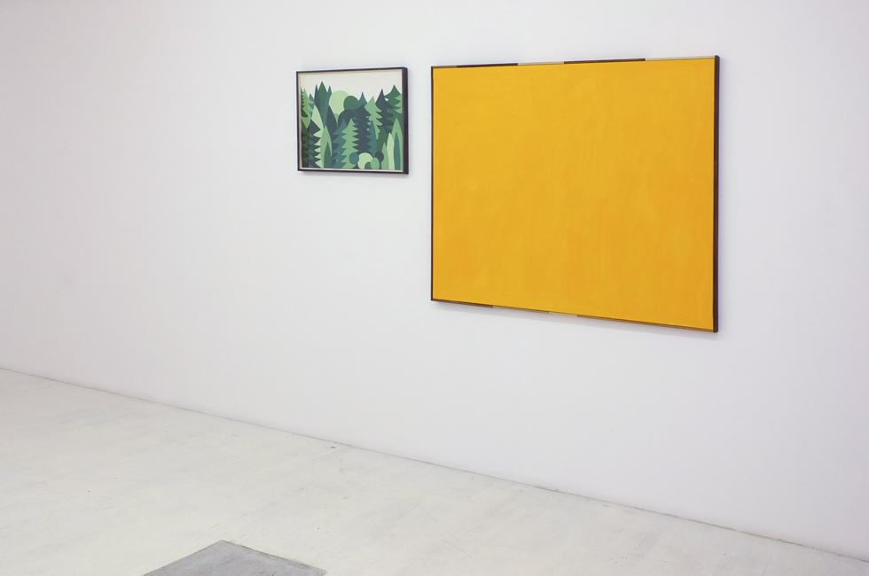 Bosque, 2012. Collage, cartulinas de color y papel 50 x 65 cm / Amarillo, 2014 Acrílico, lienzo y madera 116 x 148 cm