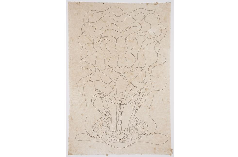 Tunga, Untitled (Sin título), 2013, tinta sobre papel hecho a mano del Himalaya, 76.2 X 55.88 cm. Foto: Farzad Owrang © Tunga. Cortesía del artista y Luhring Augustine, NY